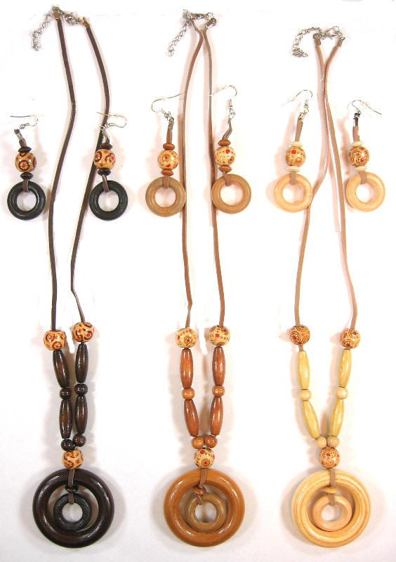 Wood Necklaces with Wood Earrings Set