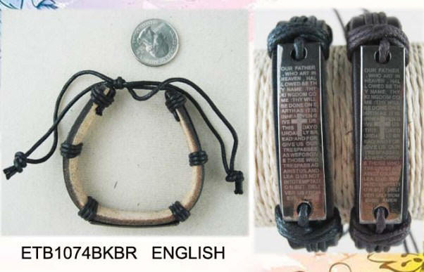 ENGLISH Lord's Prayer Leather Bracelet