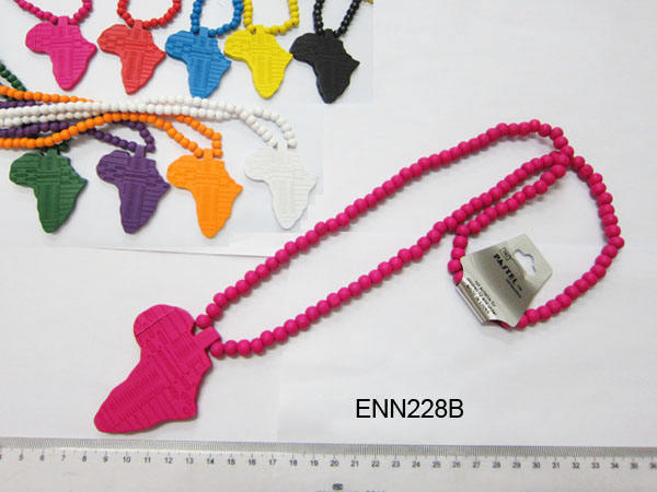 Assorted Bright Color Africa Map Wood Necklaces