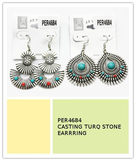 Casting Turquoise Stone Earrings