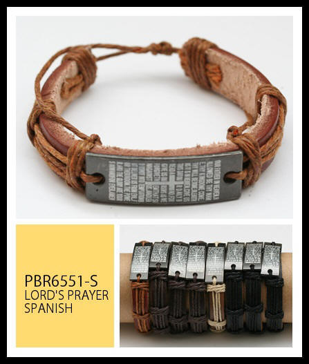 ENGLISH Prayer Leather Bracelets