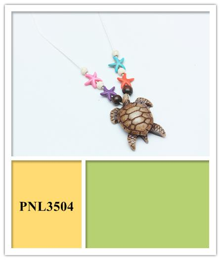 Sea Turtle Necklace with Multi Color Sea Stars