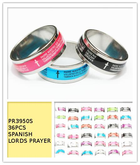 Spanish Lords Prayer Stainless Steel Rings