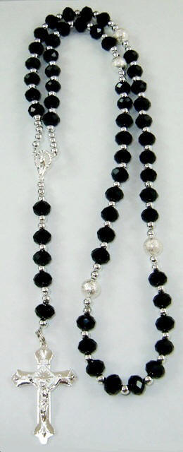 Black Genuine AB Crystal Rosary