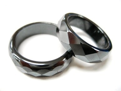 Diamond Cut Hematite Rings, Faceted Hematite Rings