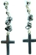 Hematite Jewelry, Cross Earrings