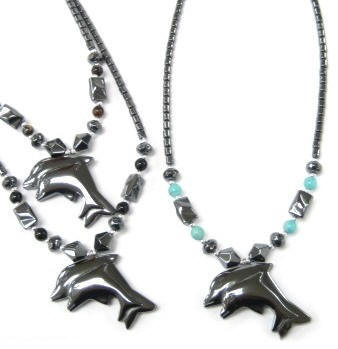 Double Dolphin Hematite Necklaces