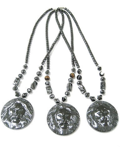 Large Lion Face Hematite Necklaces