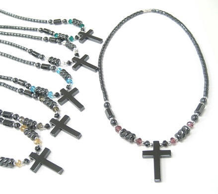 Assorted Color Crystal Cross Hematite Necklaces