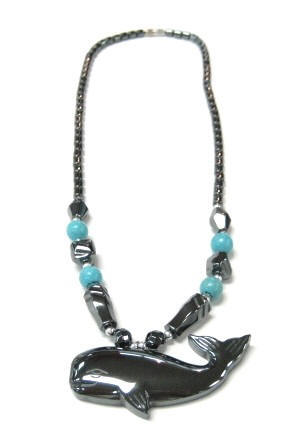 Whale With Assorted Color Beads Hematite Necklaces