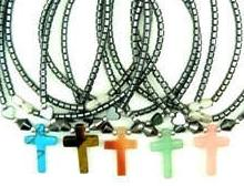 Stone Cross Hematite Necklaces With hearts