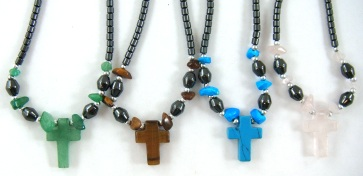 Stone Cross Hematite Necklaces