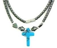 Turquoise Cross Hematite Necklaces