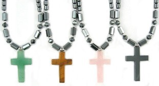 Assorted Stone Cross Hematite Necklaces