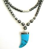 Turquoise Claw Hematite Necklaces