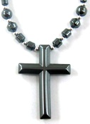 22 inch Long Cross Hematite Necklace