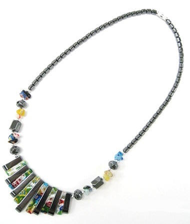 Glass and Hematite Sticks Hematite Necklaces