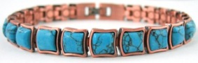 All Turquoise Squares Copper Magnetic Bracelets