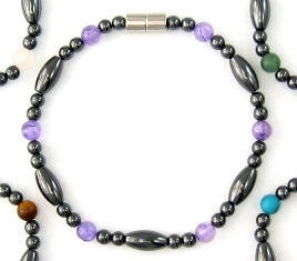 Stone Beads Magnetic Hematite Bracelets With Magnetic Clasps