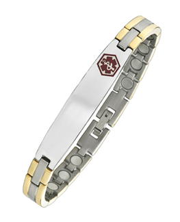2 Tone Medical ID Surgical 316 Stainless Steel Magnetic Bracelet