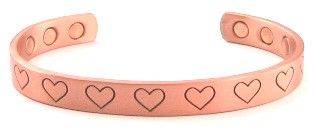Heart Copper Bangle Bracelets