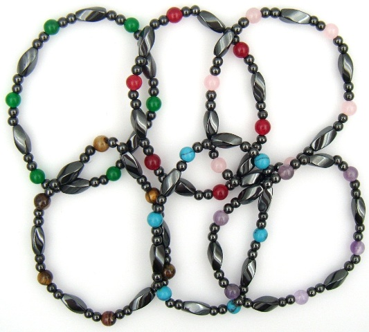 Stretchable Assorted Color Stone Beads Magnetic Hematite Bracelets