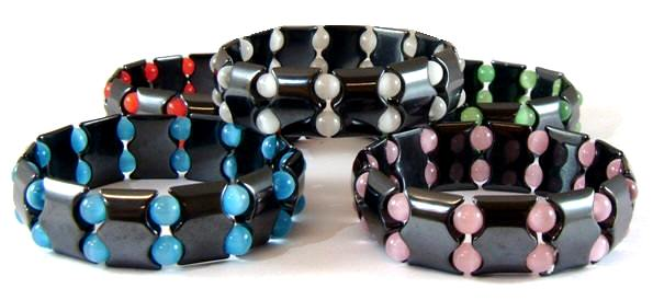 Assorted Fiber Optic Beads Hematite Magnetic Bracelets On Elastic Cord