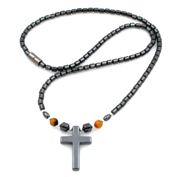 Tiger Eye Beads Hematite Cross Magnetic Necklaces
