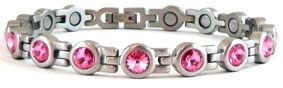 Pink Crystal Magnetic Stainless Steel Bracelets></td>