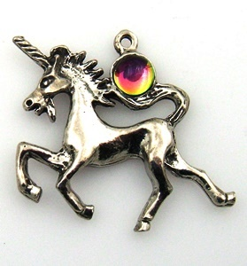 Unicorn Pewter Pendants With Austrian Crystal