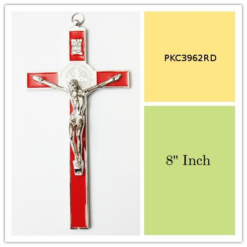 Red Enameled 8 Inch Tall Metal Wall Cross