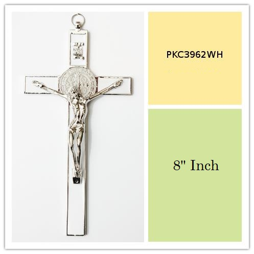 White Enameled 8 Inch Tall Metal Wall Cross