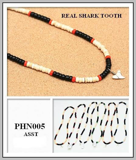 Shark Teeth On Coco Wood Beads Necklaces