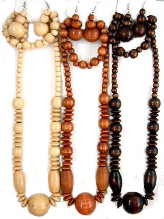 Wood Necklaces with Wood Bracelets
