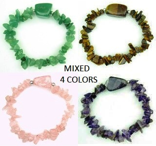 Dozen Assorted Colors Semi Precious Chip Stone Bracelets