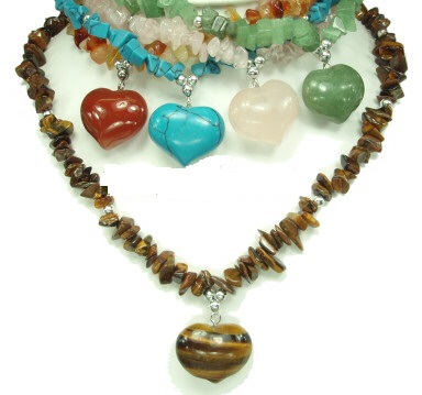 Wholesale Semi Precious Heart Stone Necklaces