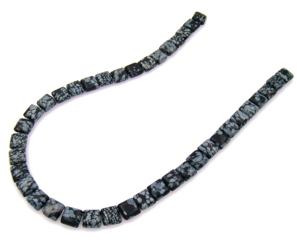 Wholesale Snowflake Obsidian 10x10mm Square Beads with 2 Holes
