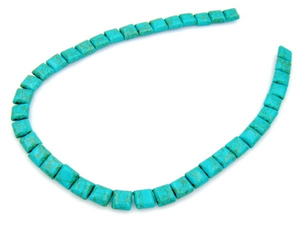Turquoise 10x10mm Square Beads with 2 Holes