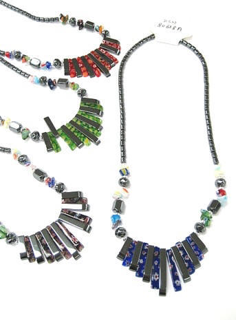 Assorted Color Fan Hematite Necklaces