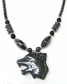 24 Long Wolf Head Hematite Necklaces