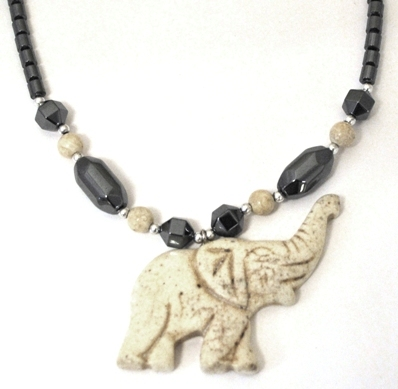 Beige Ivory Color Elephant Hematite Necklaces