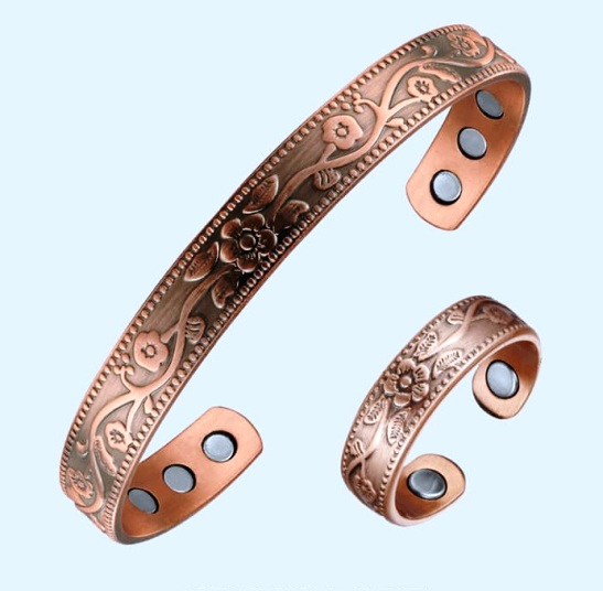 Flower Magnetic Copper Bangles And Magnetic Copper Ring Set