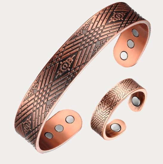 Copper Rings With Matching Copper Bangle Set