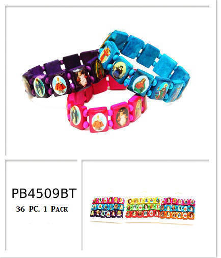 Bright Colors Religious Wood Bracelets