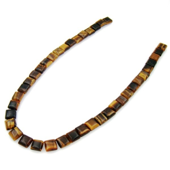 Semi-Precious Stone Tiger-eye with 2 Holes 10x10mm Square Beads